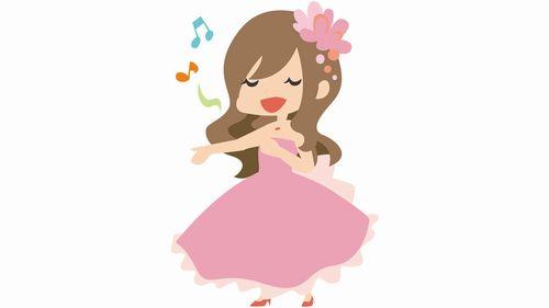 歌う女性のイラスト